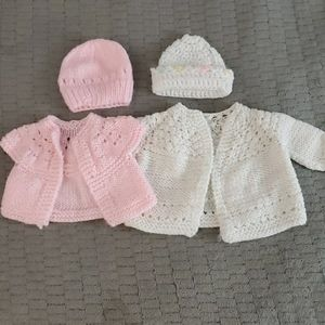 Knitted sweaters with hats